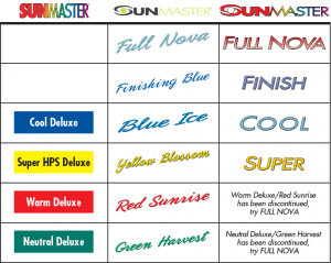 SUNMASTER Cool Deluxe, Super HPS Deluxe, Warm Deluxe, Neutral Deluxe, Finishing Blue, Blue Ice, Yellow Blossom, Red Sunrise, Green Harvest